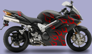 Motorcycle Graphic 1 Flame Tips