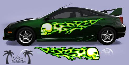 Skull Flames - Green